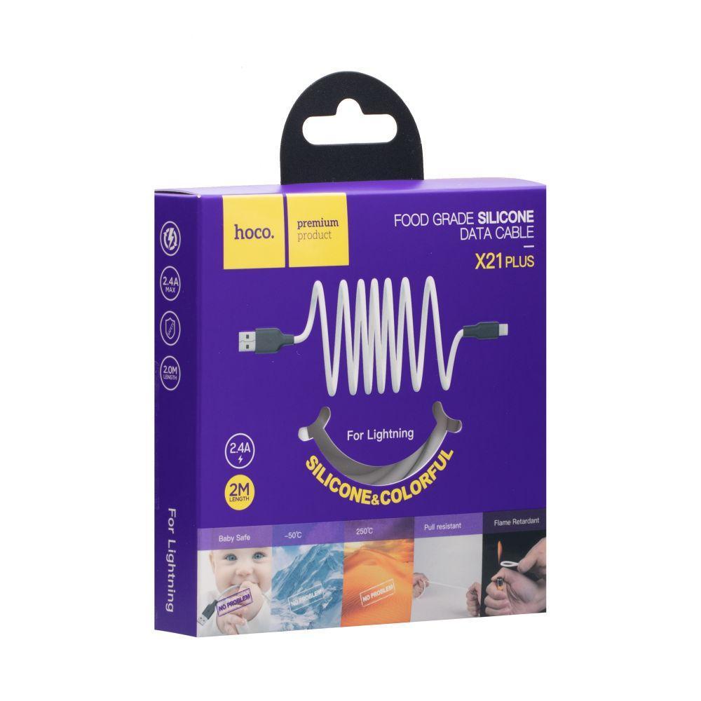 USB кабель Hoco X21 Plus Silicone Lightning (2м, черно-белый)