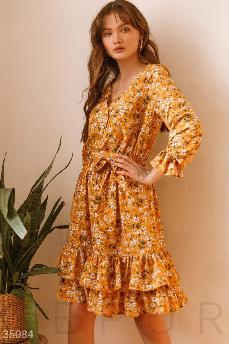 Літній квіткове плаття жовте