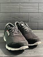 Кроссовки в сетку текстиль под FILA , Черные с серой подошвой