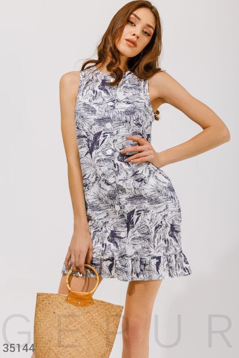 Платье-мини с принтом бело-синее