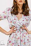 Цветочное платье длины миди голубое, фото 4