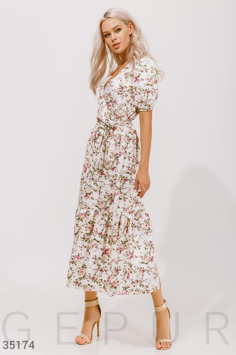 Цветочное платье длины миди белое