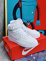 Кроссовки белые Nike Air Force High White Найк Аир Форс, фото 1