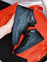 Кроссовки черные Найк Аир Форс Nike Air Force High Black, фото 1