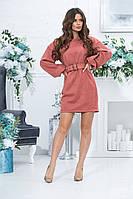 Короткое прямое платье с длинным рукавом из экозамши и поясом,  4 цвета, Р-р.46,48,50,52, Код 989В