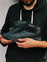 Кроссовки черные высокие Найк Аир Форс/Кросівки Найк Чорні Високі, фото 1