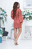 Короткое прямое платье с длинным рукавом из экозамши и поясом,  4 цвета, Р-р.46,48,50,52, Код 989В, фото 2