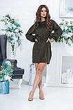 Короткое прямое платье с длинным рукавом из экозамши и поясом,  4 цвета, Р-р.46,48,50,52, Код 989В, фото 3