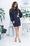 Короткое прямое платье с длинным рукавом из экозамши и поясом,  4 цвета, Р-р.46,48,50,52, Код 989В, фото 5