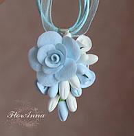 """Голубой кулон/ подвеска с розами """"Воздушный"""". Подарок девушке на день влюбленных, 8 марта"""