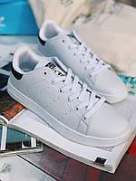 Кроссовки белые с черным задником Adidas Stan Smith Black, фото 1