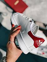 Кроссовки белые с красным задником Адідас Стен Смит, фото 1