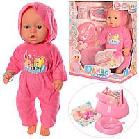 Детская кукла пупс для девочек Беби Борн. В наборе горшочек, тарелка с ложкой, бутылочка, пустышка