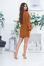 Коротке пряме плаття з довгим рукавом з микровельвета і поясом, 3 кольори, Р-н. 46,48,50,52, Код 988В, фото 2