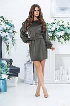 Коротке пряме плаття з довгим рукавом з микровельвета і поясом, 3 кольори, Р-н. 46,48,50,52, Код 988В, фото 3