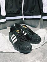 Кроссовки черные Adidas Superstar Black с белыми вставками, фото 1