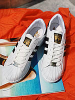 Кроссовки белые Adidas Superstar White с черными вставками, фото 1