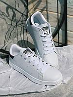 Кроссовки белые  Adidas Stan Smith Black с черным задником, фото 1