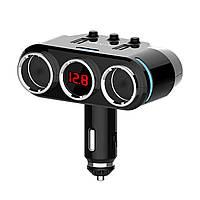 Разветвитель для прикуривателя Yantu QC3.0 B39 led экран 2 USB (3915-11486)