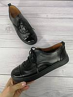 Женские кожаные туфли/кеды с лаковым носиком Verina (038) В наличии 36,37,38,39,40,41,42