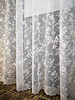 Тюль жаккард белый ост.4.5м, фото 1