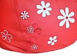 Крісло груша sportkreslo з вишивкою Ромашка Екокожа розмір L 95*115см червоний, фото 3