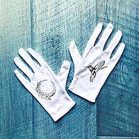 Перчатки хлопковые белые с принтом птицы и цветов