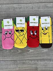 Дитячі підліткові шкарпетки бамбук Montebello для дівчаток і хлопчиків 9,11 років 12 шт в уп мікс 4 кольорів