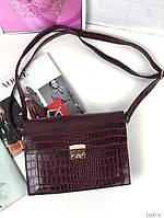 Маленькая бордовая женская сумка клатч стильная сумочка через плечо кроссбоди рептилия экокожа, фото 1