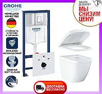 Комплект унитаз подвесной Grohe Euro Ceramic 39328CB0 + инсталляция Grohe 4 в 1