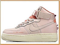 Женские кроссовки Nike Air Force 1 Mid High Pink (найк аир форс высокие, розовые / белые)
