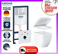 Комплект унитаз подвесной Grohe Euro Ceramic 39206CB0 + инсталляция Grohe 4 в 1 38772001