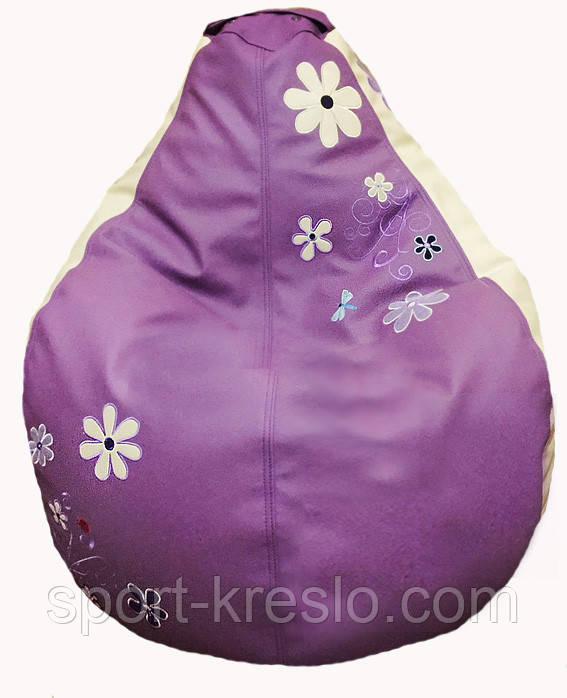 Кресло пуфик с вышивкой sportkreslo Ромашка Экокожа размер S 80*100см сиреневый+белый