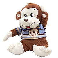 Мягкая игрушка Обезьянка в голубой футболке, 26 см, (727001/1-2)