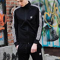 Олимпийка мужская черная Adidas, спортивная кофта на молнии Адидас