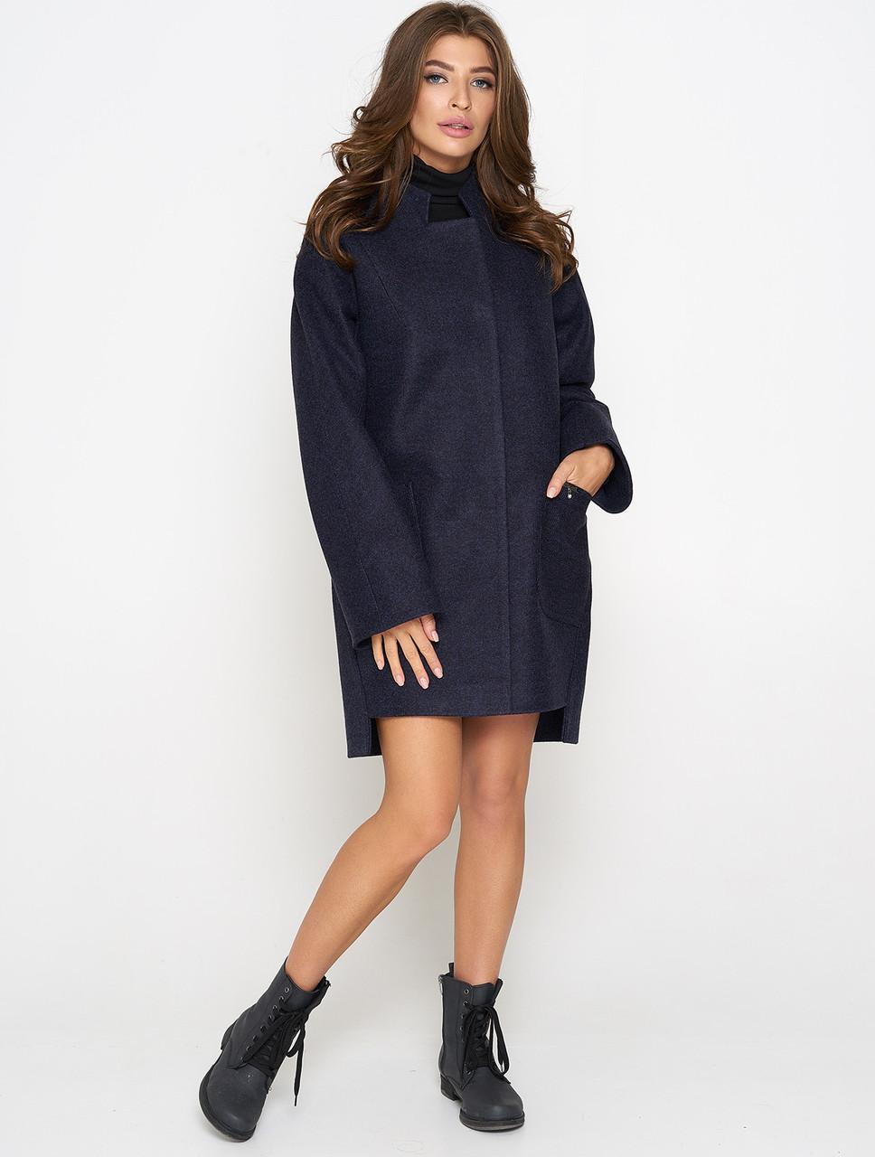 Пальто женское прямое (весна-осень) синее (38-56)