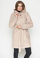Пальто женское полуприлегающее (весна-осень) с капюшоном, бежевое (40-54)