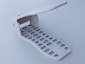 Двойная подставка-органайзер для обуви нежно-голубого цвета. 4 положения регулировки высоты.