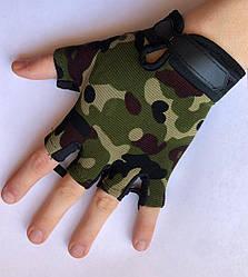 Детские тактические перчатки беспалые цвет камуфляж