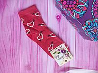 """Носки женские высокие """"Украинский трикотаж"""" Сердца, 50/50 хлопок/бамбук, размер 36-40, цвет красный"""