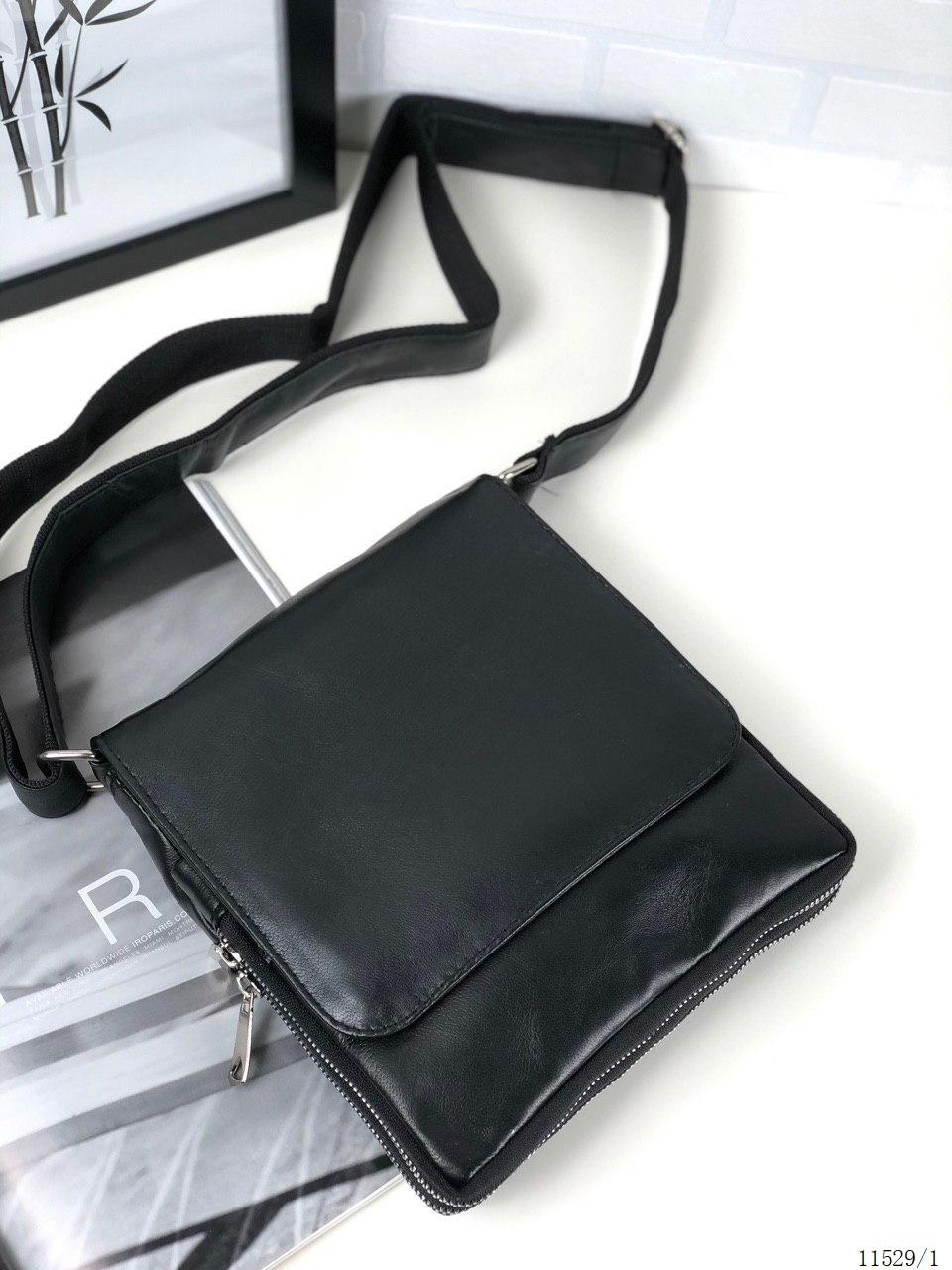 Мужская черная сумка через плечо барсетка кросс-боди мессенджер натуральная кожа