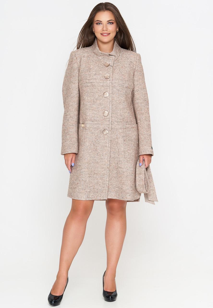 Женское демисезонное пальто из вареной шерсти (весна-осень) бежевое (50-58)