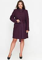Женское демисезонное пальто из вареной шерсти (весна-осень) марсала (50-58)