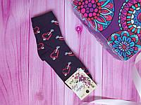 """Носки женские высокие """"Украинский трикотаж"""" Сердца, 50/50 хлопок/бамбук, размер 36-40, цвет черный"""