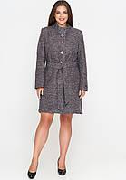 Женское демисезонное пальто из вареной шерсти (весна-осень) пудра (50-58)