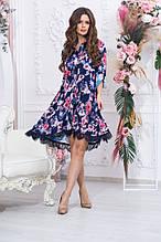 Платье летнее свободное, из легкой ткани шелк армани, 2 цвета, Р-р. 42-44,46-48.50-52  Код 983В