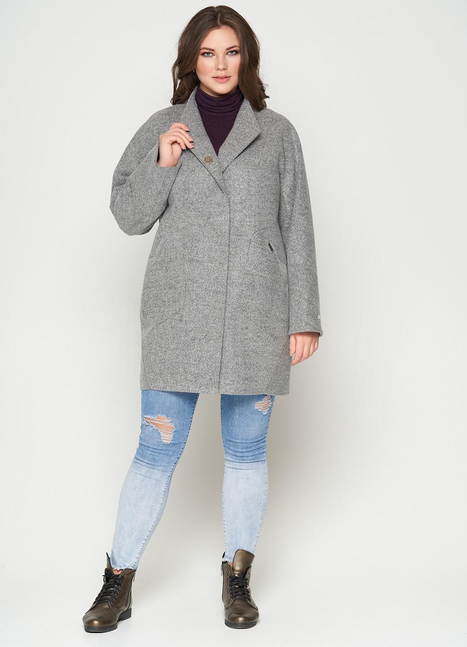 Короткое женское пальто (весна-осень) в больших размерах, серое (46-54)