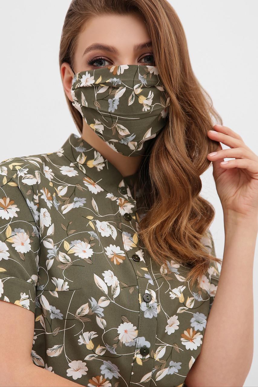 Маска женская  из натуральной ткани защитная многоразовая