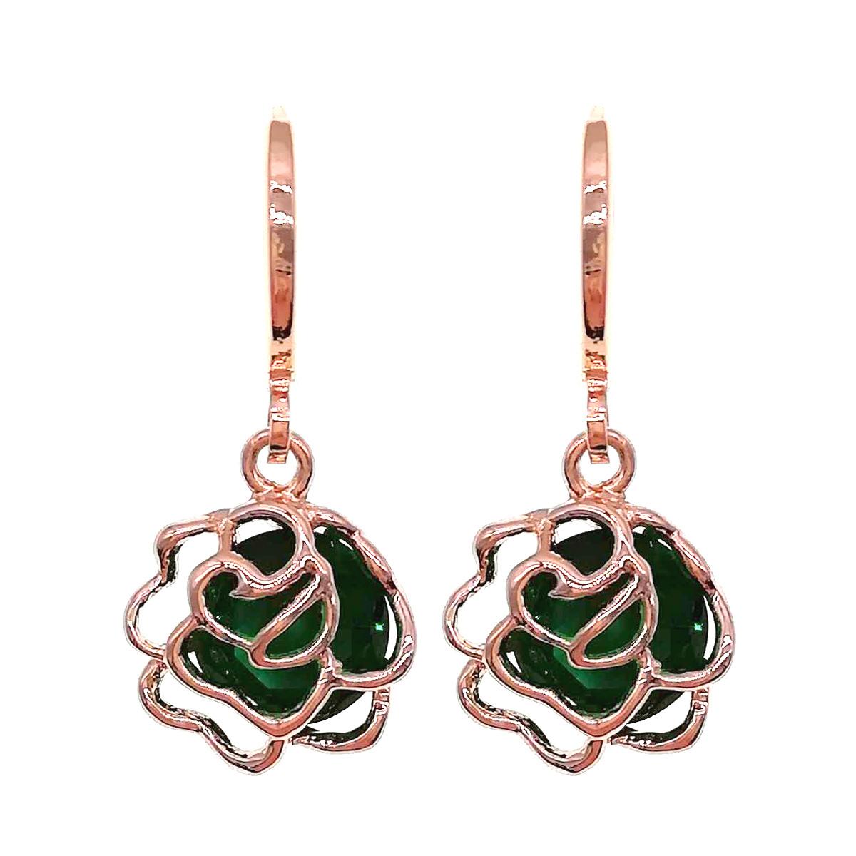 Сережки SONATA з медичного золота, зелені фіаніти, позолота PO, 24352 (1)