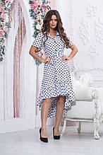 Свободное летнее платье в горох  миди с поясом из ткани софт,  Р-р.46,50,52 Код 979В